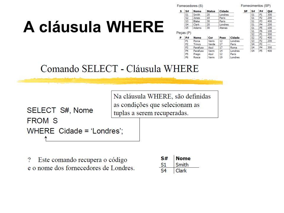 A cláusula WHERE
