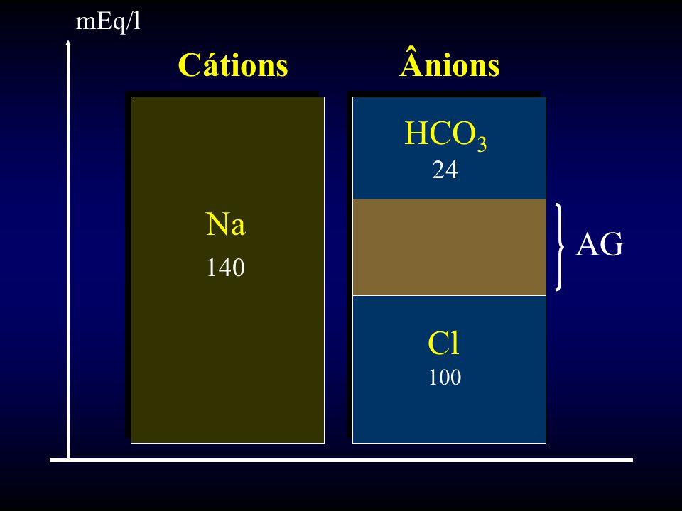 mEq/l Cátions Ânions HCO3 24 Na 140 AG Cl 100