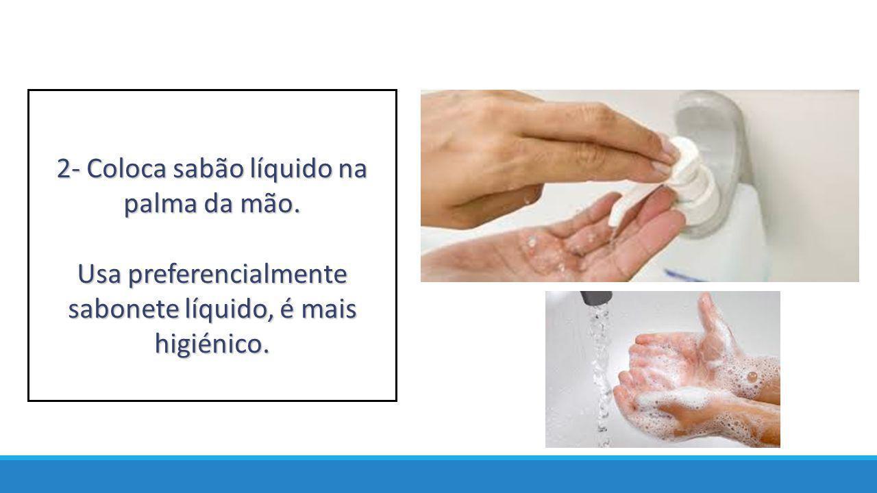 2- Coloca sabão líquido na palma da mão.