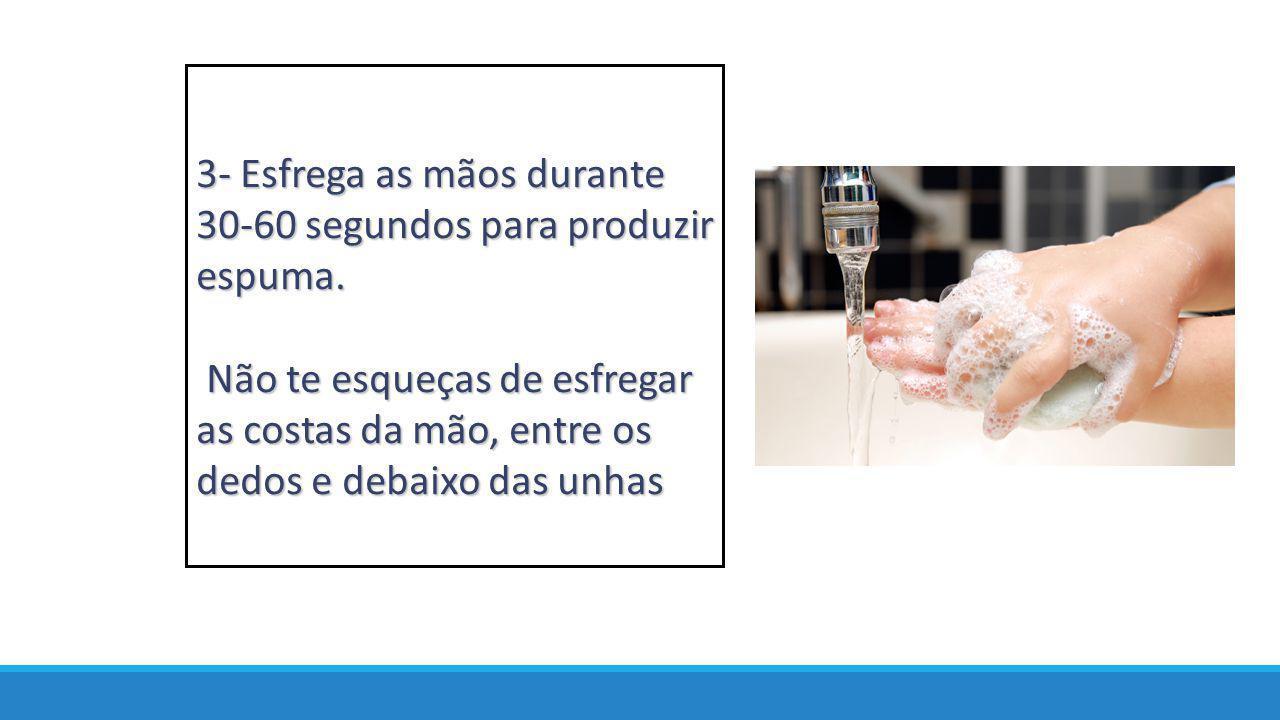 3- Esfrega as mãos durante 30-60 segundos para produzir espuma.