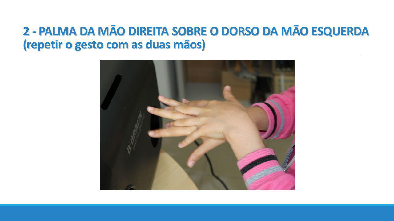2 - PALMA DA MÃO DIREITA SOBRE O DORSO DA MÃO ESQUERDA (repetir o gesto com as duas mãos)