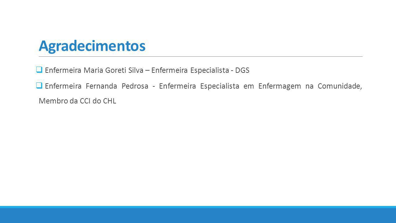 Agradecimentos Enfermeira Maria Goreti Silva – Enfermeira Especialista - DGS.