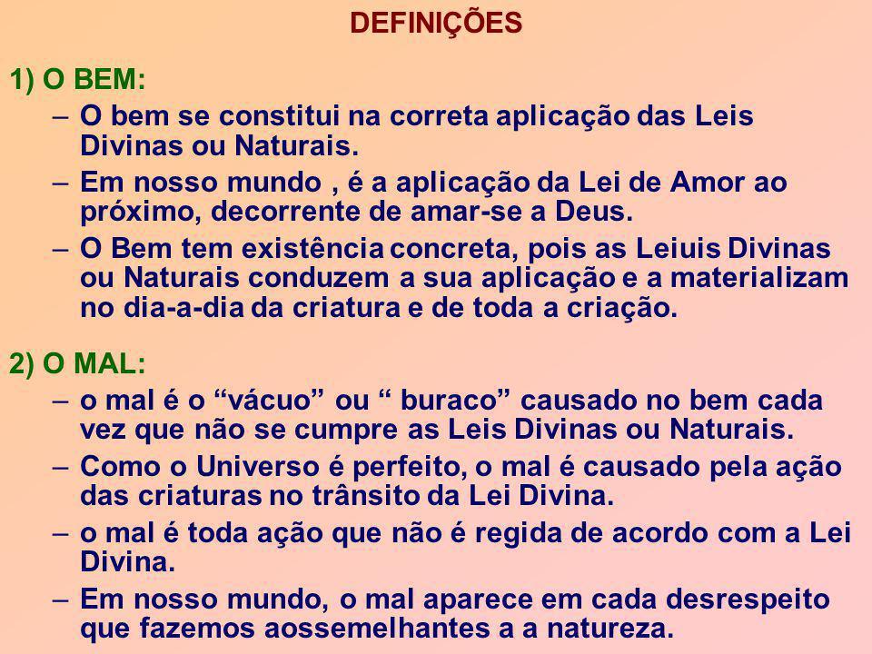 DEFINIÇÕES 1) O BEM: O bem se constitui na correta aplicação das Leis Divinas ou Naturais.