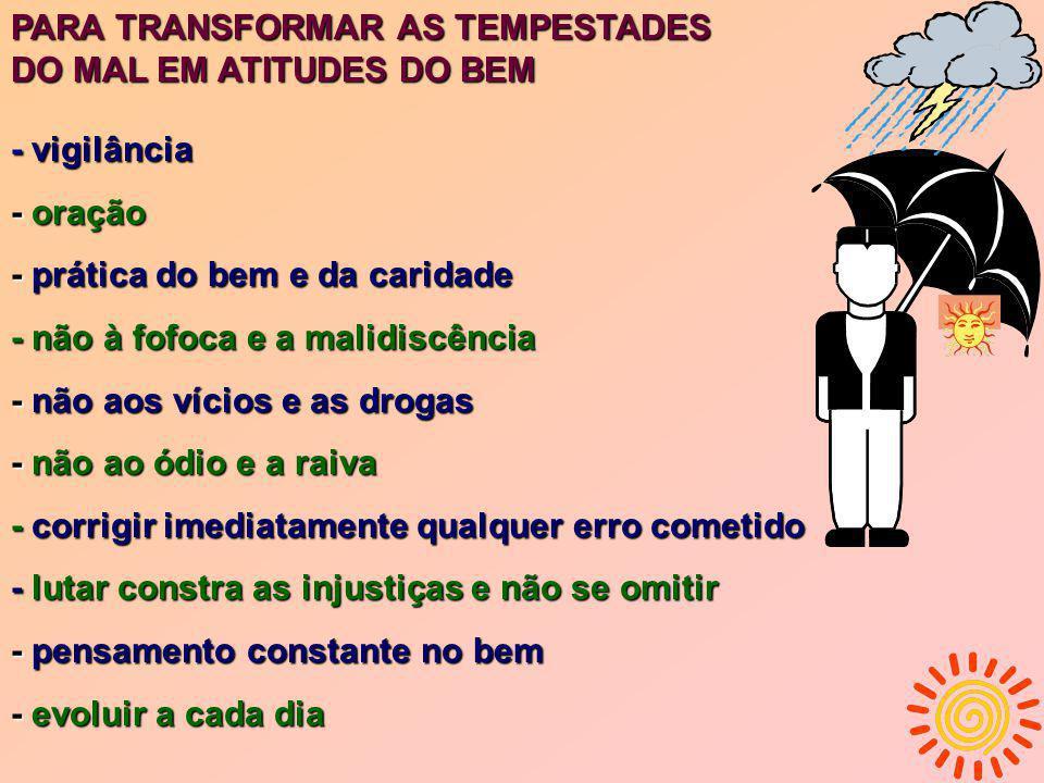 PARA TRANSFORMAR AS TEMPESTADES DO MAL EM ATITUDES DO BEM