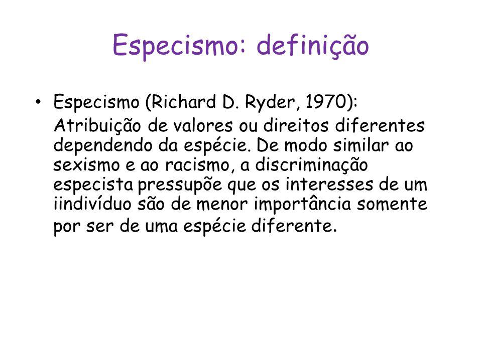 Especismo: definição Especismo (Richard D. Ryder, 1970):
