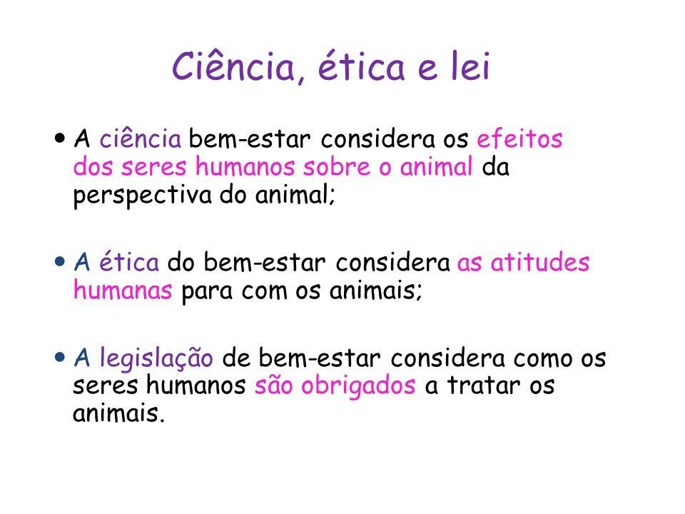 Ciência, ética e lei A ciência bem-estar considera os efeitos dos seres humanos sobre o animal da perspectiva do animal;