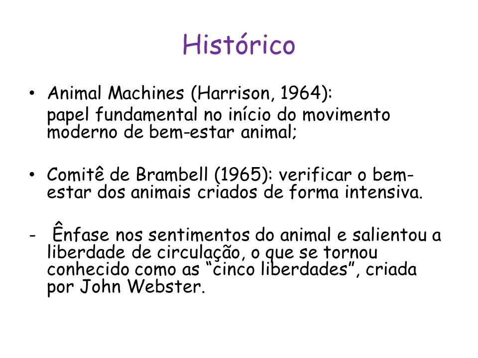 Histórico Animal Machines (Harrison, 1964):