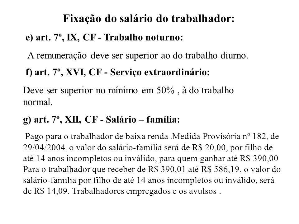 Fixação do salário do trabalhador: