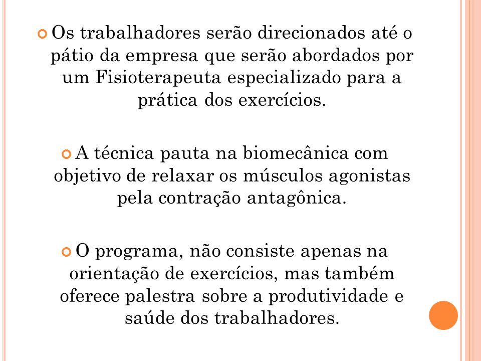 Os trabalhadores serão direcionados até o pátio da empresa que serão abordados por um Fisioterapeuta especializado para a prática dos exercícios.