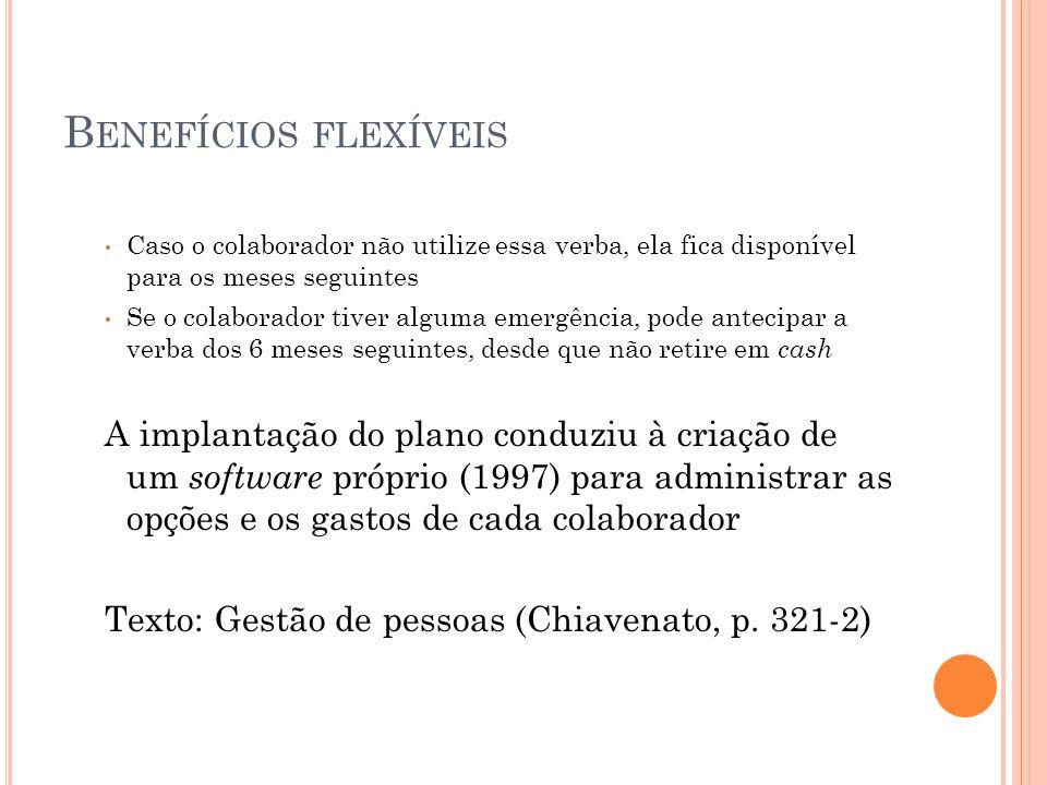 Benefícios flexíveis Caso o colaborador não utilize essa verba, ela fica disponível para os meses seguintes.