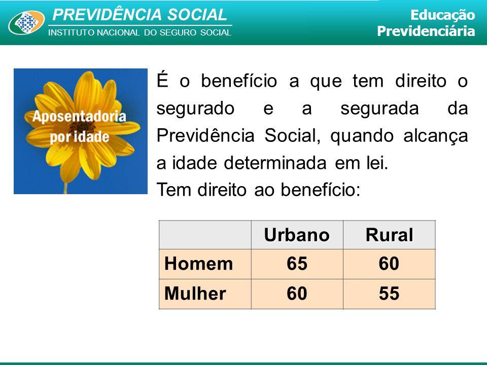 É o benefício a que tem direito o segurado e a segurada da Previdência Social, quando alcança a idade determinada em lei.