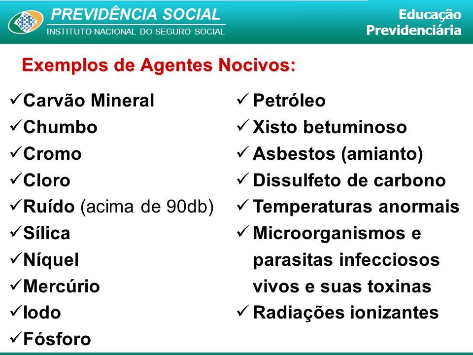 Exemplos de Agentes Nocivos: