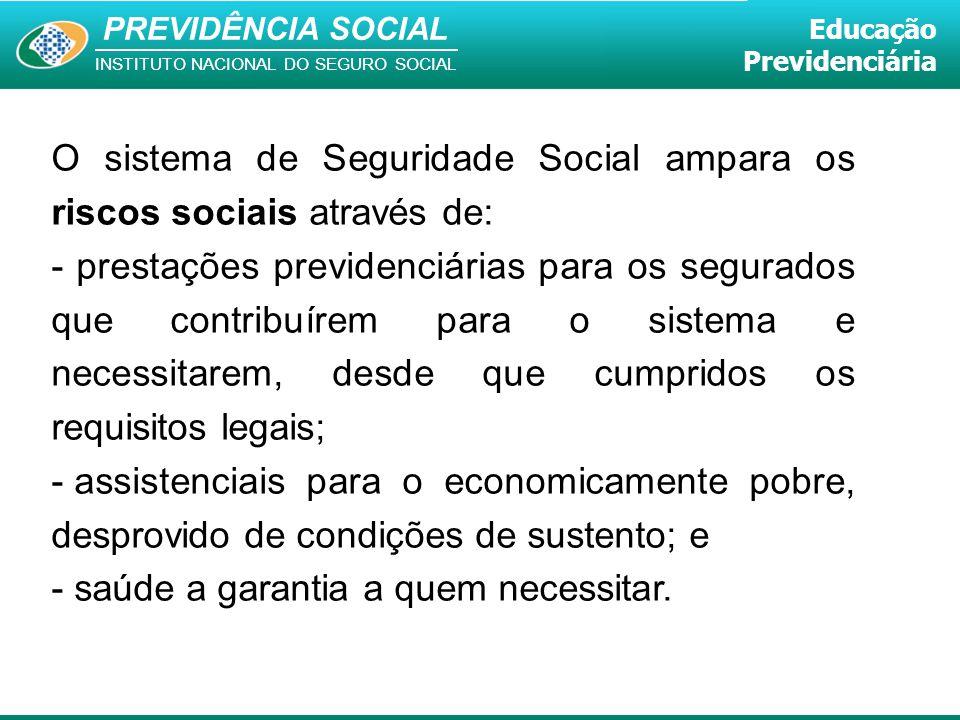 O sistema de Seguridade Social ampara os riscos sociais através de:
