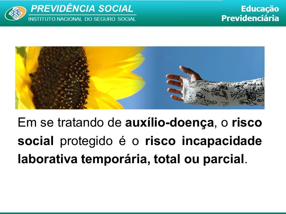 Em se tratando de auxílio-doença, o risco social protegido é o risco incapacidade laborativa temporária, total ou parcial.