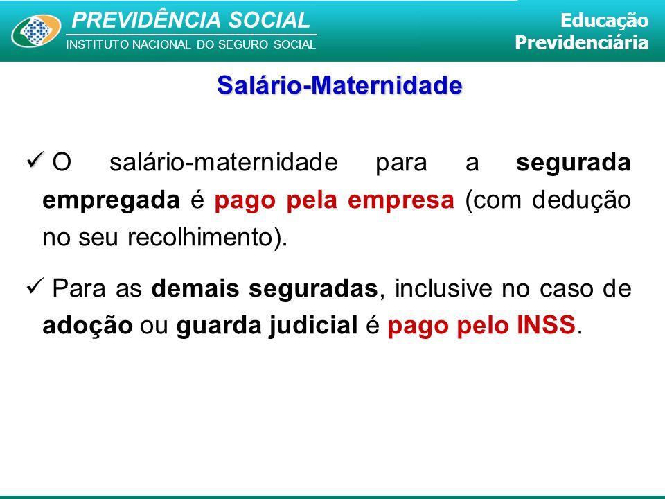 Salário-Maternidade O salário-maternidade para a segurada empregada é pago pela empresa (com dedução no seu recolhimento).