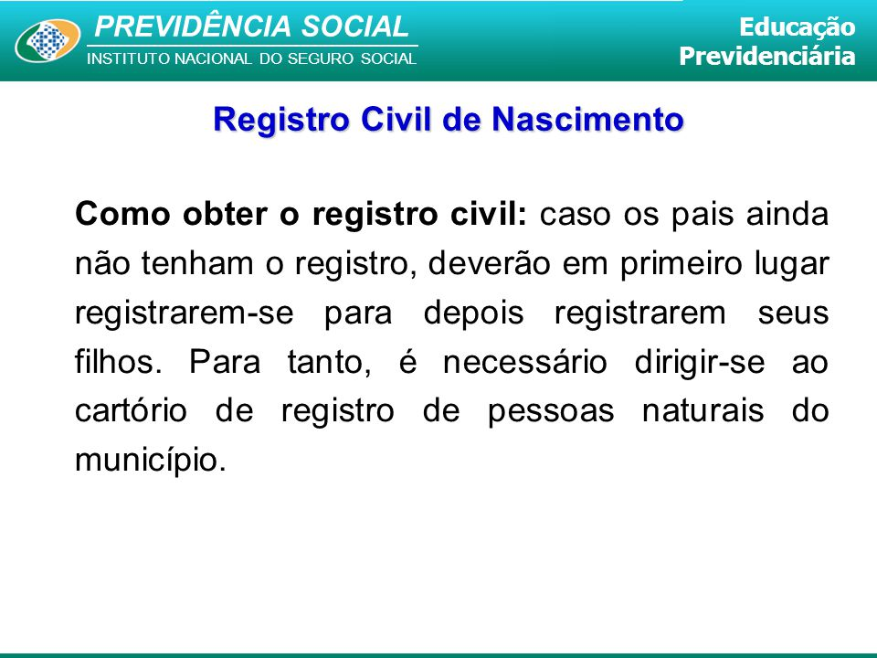 Registro Civil de Nascimento