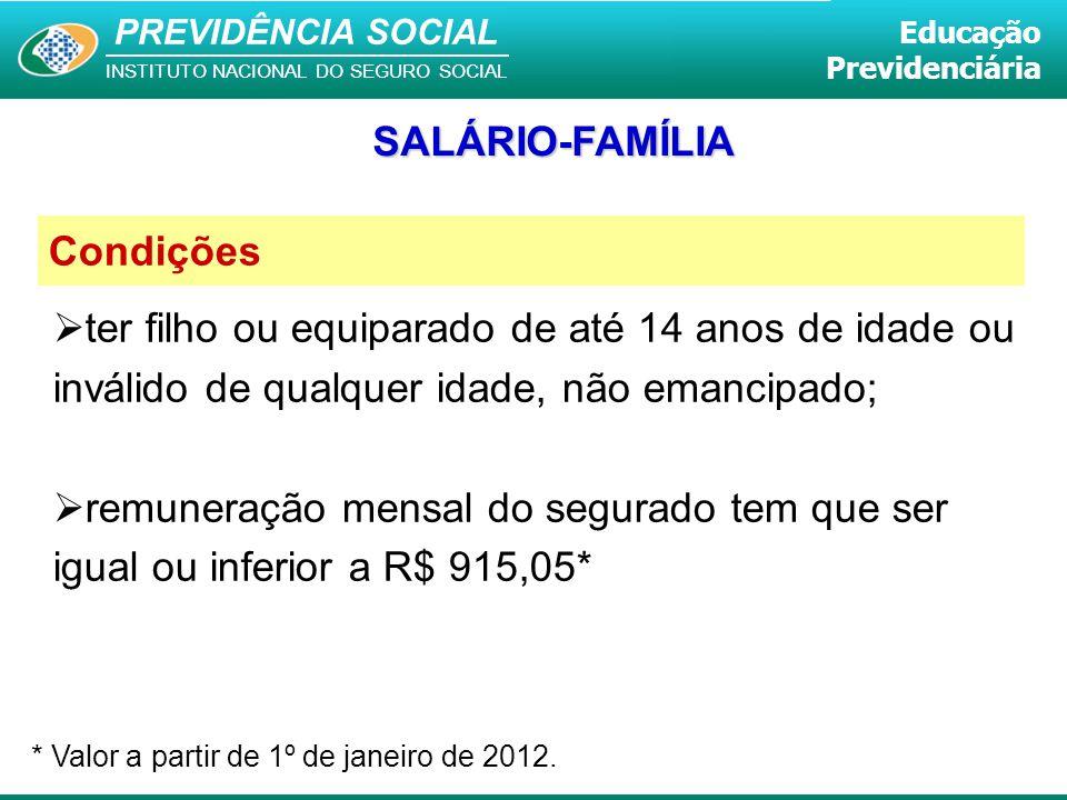 SALÁRIO-FAMÍLIA Condições