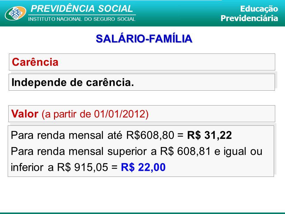 SALÁRIO-FAMÍLIA Carência. Independe de carência. Valor (a partir de 01/01/2012) Para renda mensal até R$608,80 = R$ 31,22.