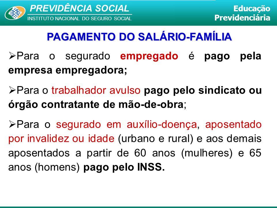 PAGAMENTO DO SALÁRIO-FAMÍLIA