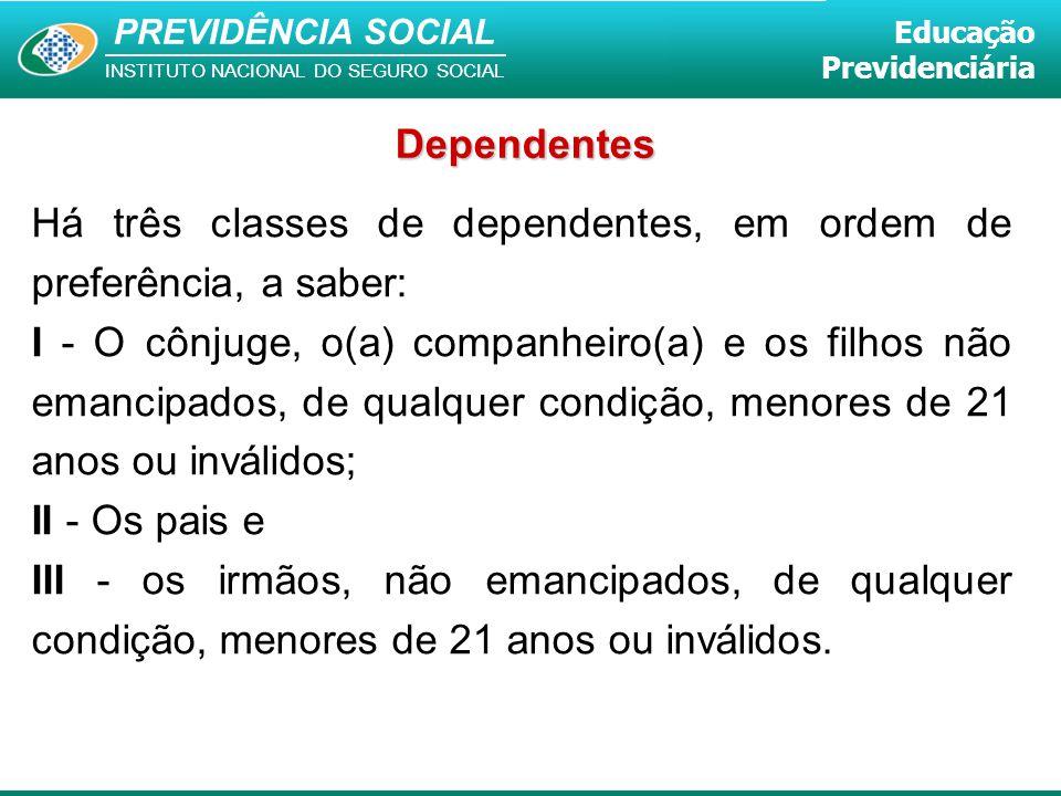 Dependentes Há três classes de dependentes, em ordem de preferência, a saber: