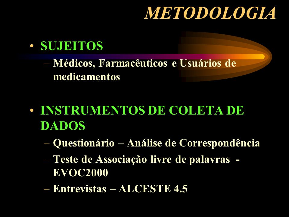 METODOLOGIA SUJEITOS INSTRUMENTOS DE COLETA DE DADOS