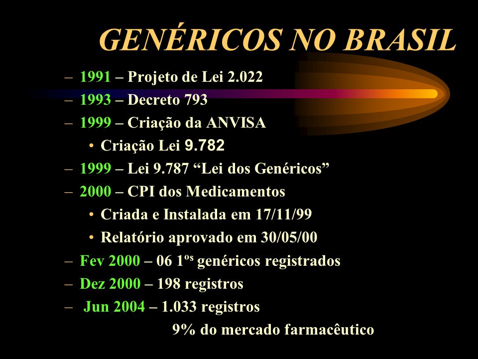 GENÉRICOS NO BRASIL 1991 – Projeto de Lei 2.022 1993 – Decreto 793