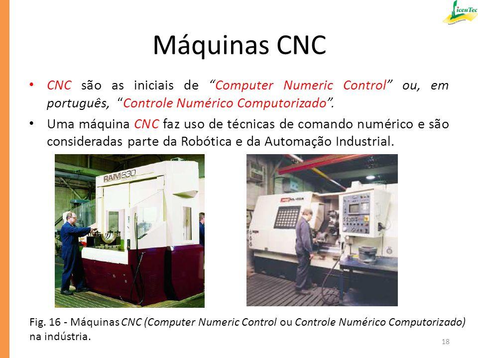 Máquinas CNC CNC são as iniciais de Computer Numeric Control ou, em português, Controle Numérico Computorizado .