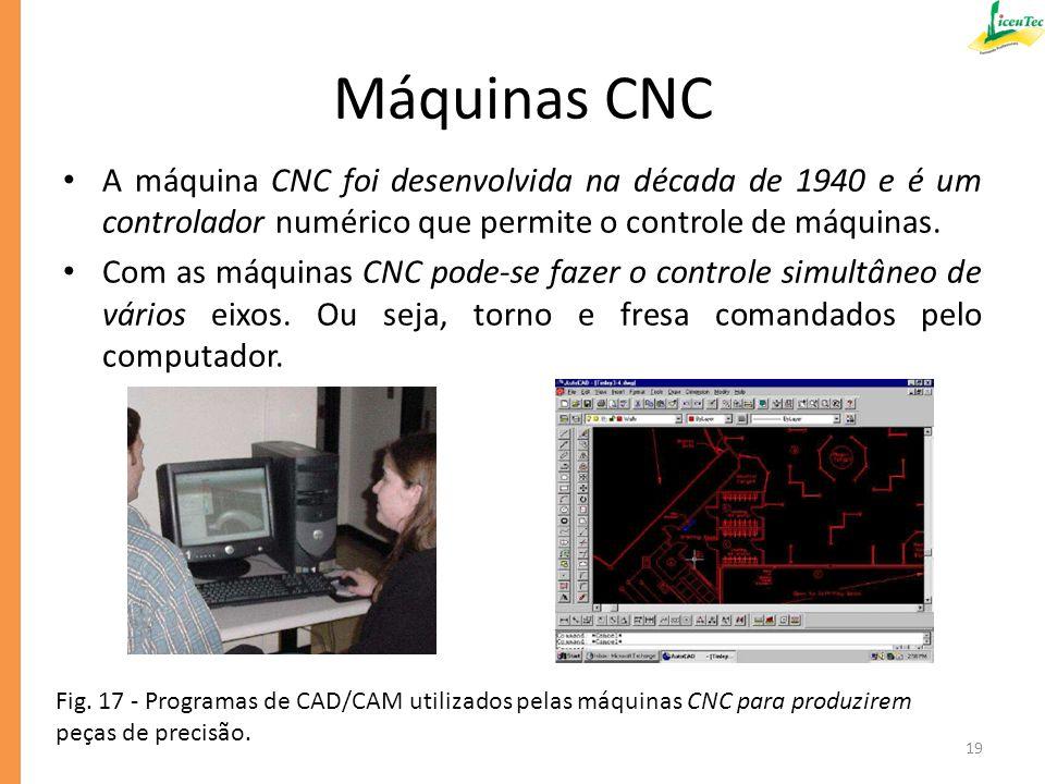 Máquinas CNC A máquina CNC foi desenvolvida na década de 1940 e é um controlador numérico que permite o controle de máquinas.