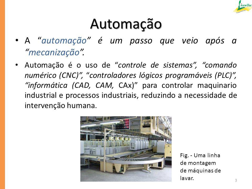 Automação A automação é um passo que veio após a mecanização .