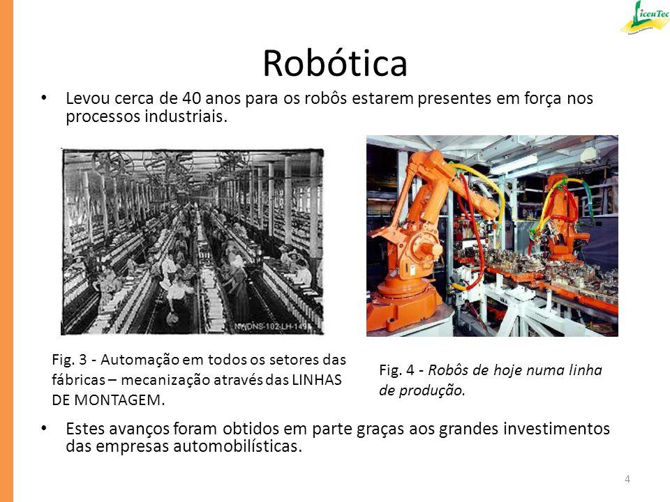 Robótica Levou cerca de 40 anos para os robôs estarem presentes em força nos processos industriais.