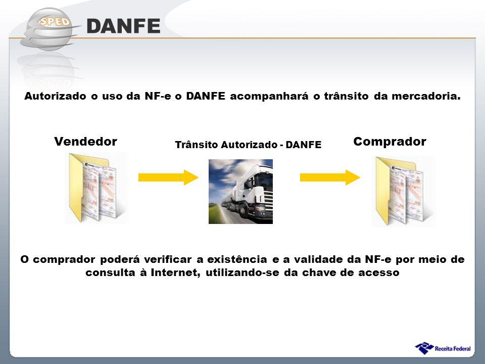 Autorizado o uso da NF-e o DANFE acompanhará o trânsito da mercadoria.