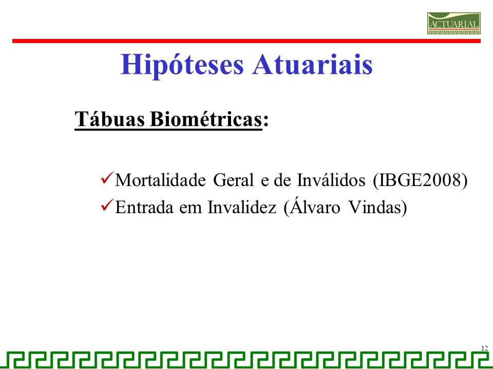 Hipóteses Atuariais Tábuas Biométricas: