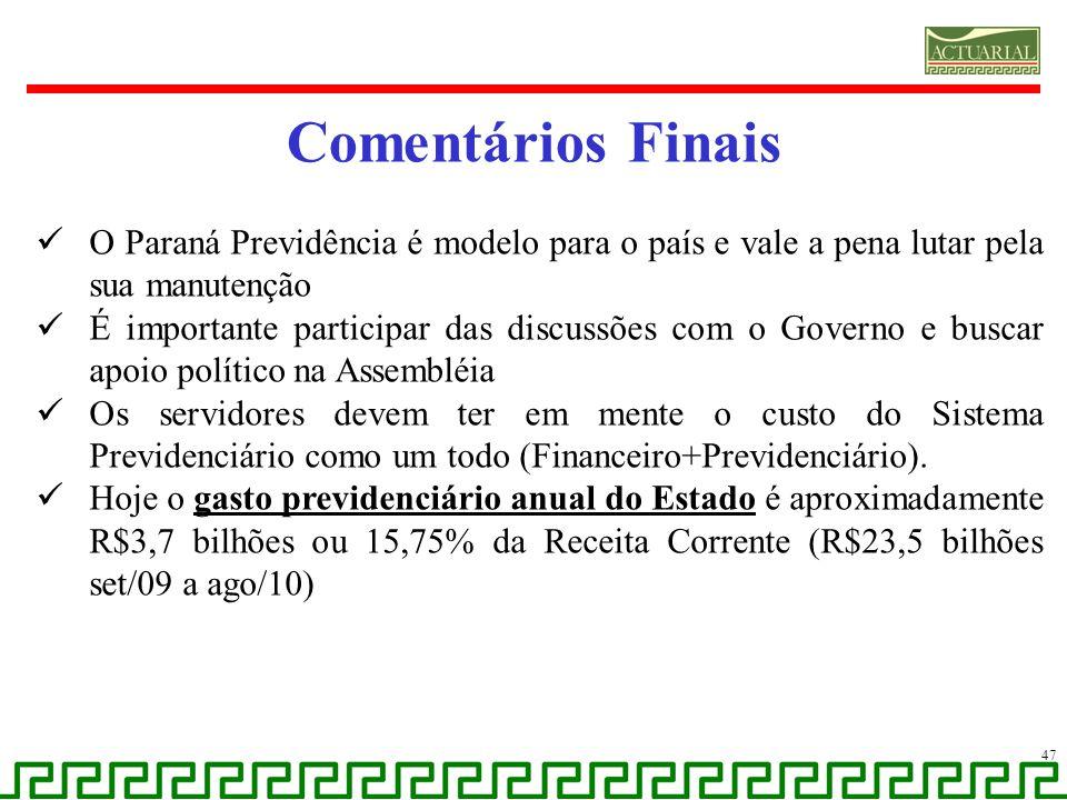 Comentários Finais O Paraná Previdência é modelo para o país e vale a pena lutar pela sua manutenção.