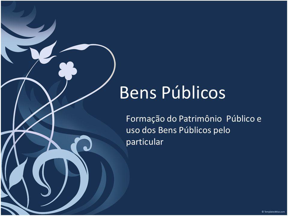 Bens Públicos Formação do Patrimônio Público e uso dos Bens Públicos pelo particular