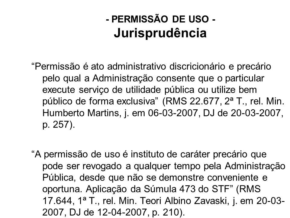 - PERMISSÃO DE USO - Jurisprudência