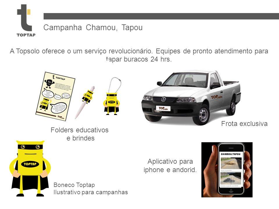 Campanha Chamou, Tapou A Topsolo oferece o um serviço revolucionário. Equipes de pronto atendimento para tapar buracos 24 hrs.