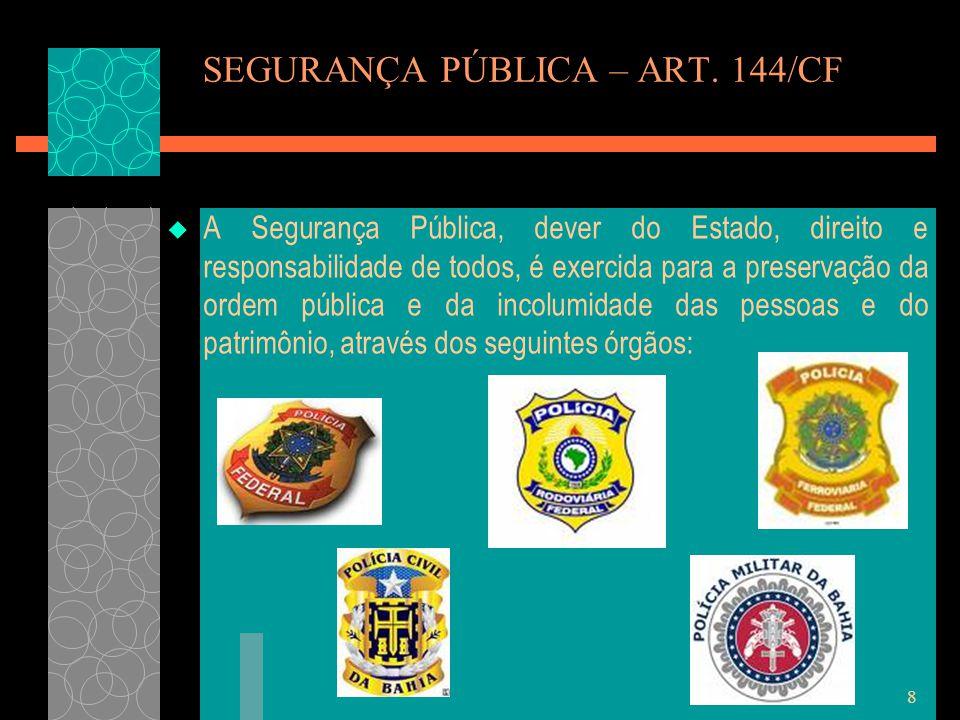 SEGURANÇA PÚBLICA – ART. 144/CF