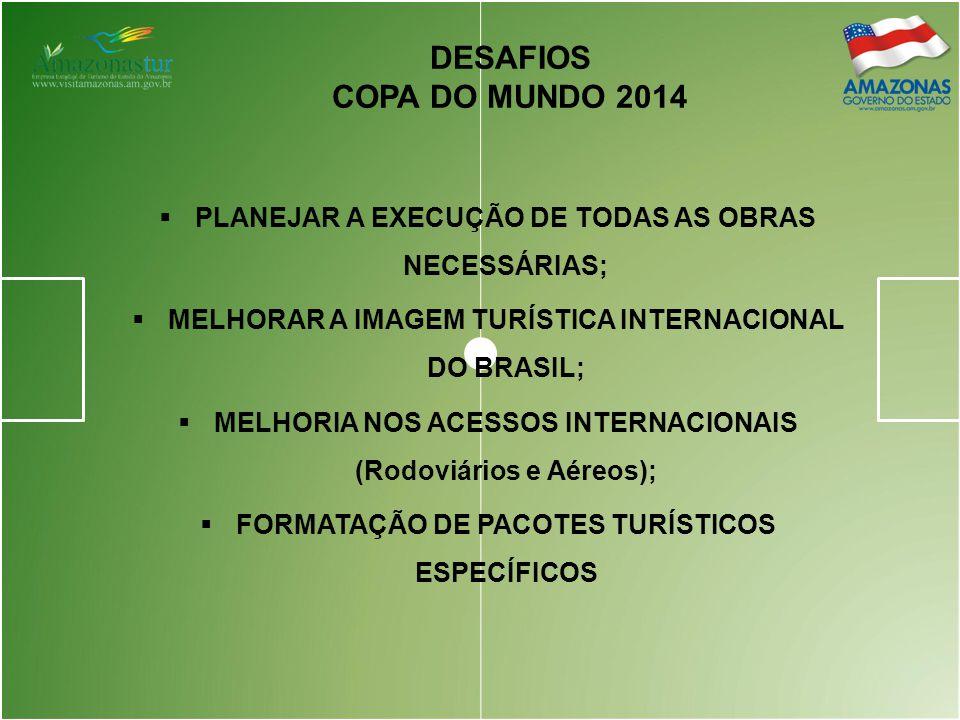 DESAFIOS COPA DO MUNDO 2014. PLANEJAR A EXECUÇÃO DE TODAS AS OBRAS NECESSÁRIAS; MELHORAR A IMAGEM TURÍSTICA INTERNACIONAL DO BRASIL;