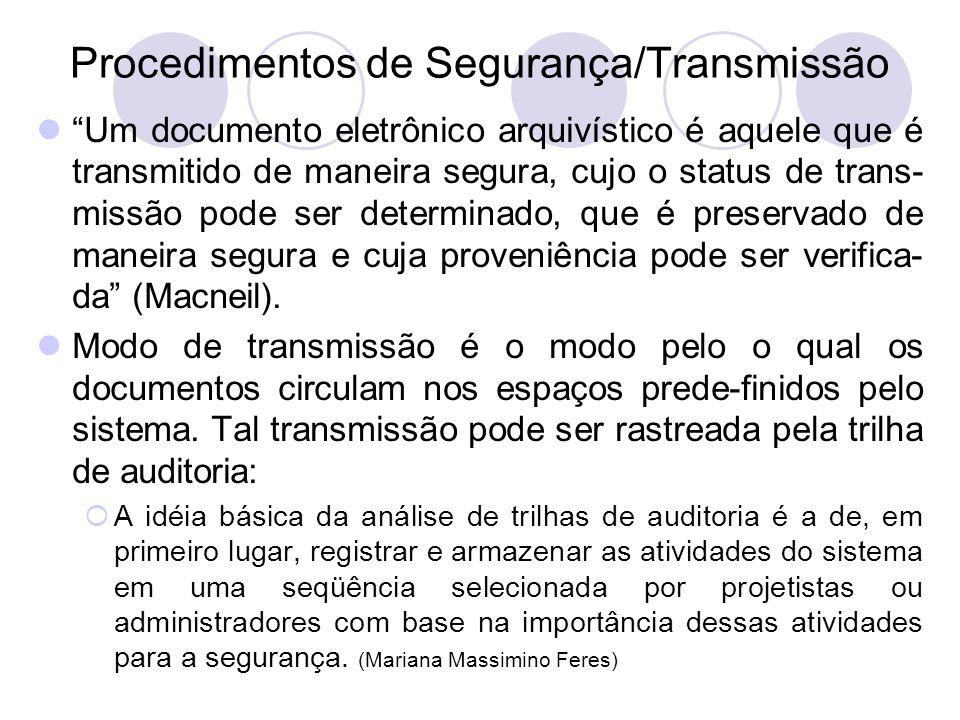 Procedimentos de Segurança/Transmissão