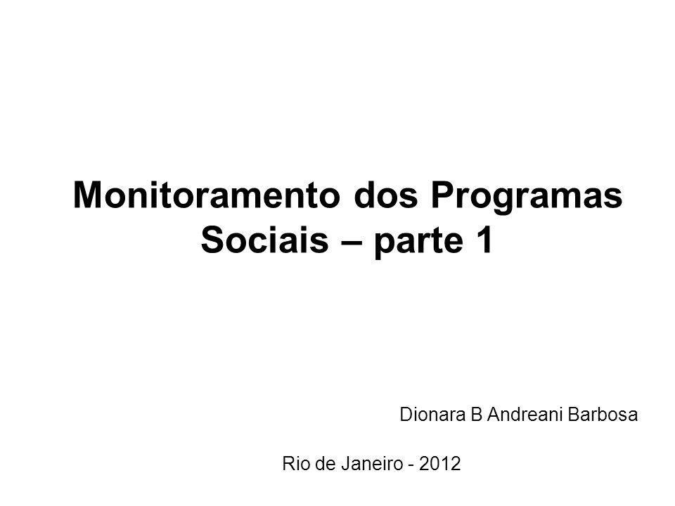 Monitoramento dos Programas Sociais – parte 1