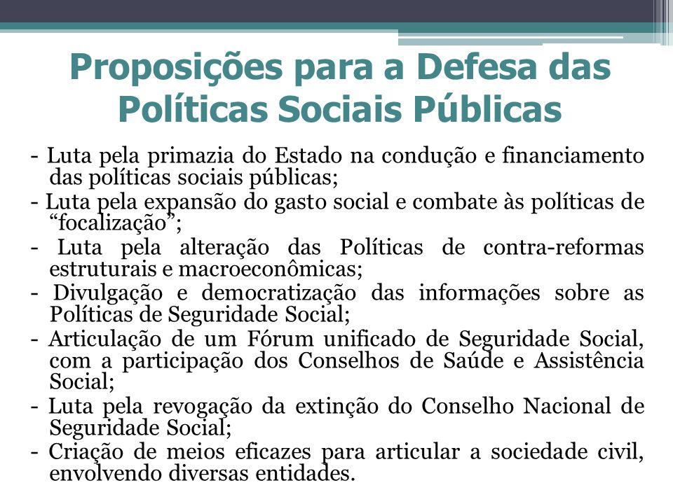 Proposições para a Defesa das Políticas Sociais Públicas