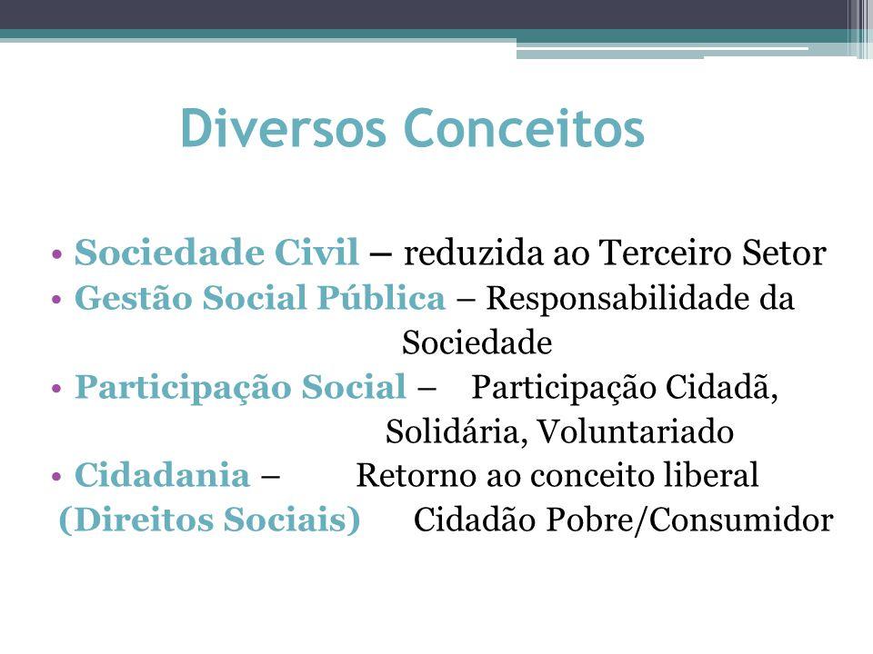 Diversos Conceitos Sociedade Civil – reduzida ao Terceiro Setor