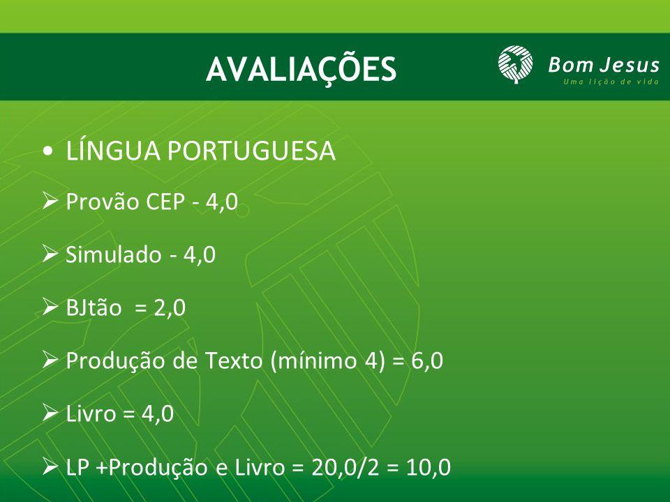 AVALIAÇÕES LÍNGUA PORTUGUESA Provão CEP - 4,0 Simulado - 4,0