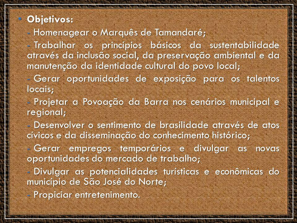 Objetivos: Homenagear o Marquês de Tamandaré;