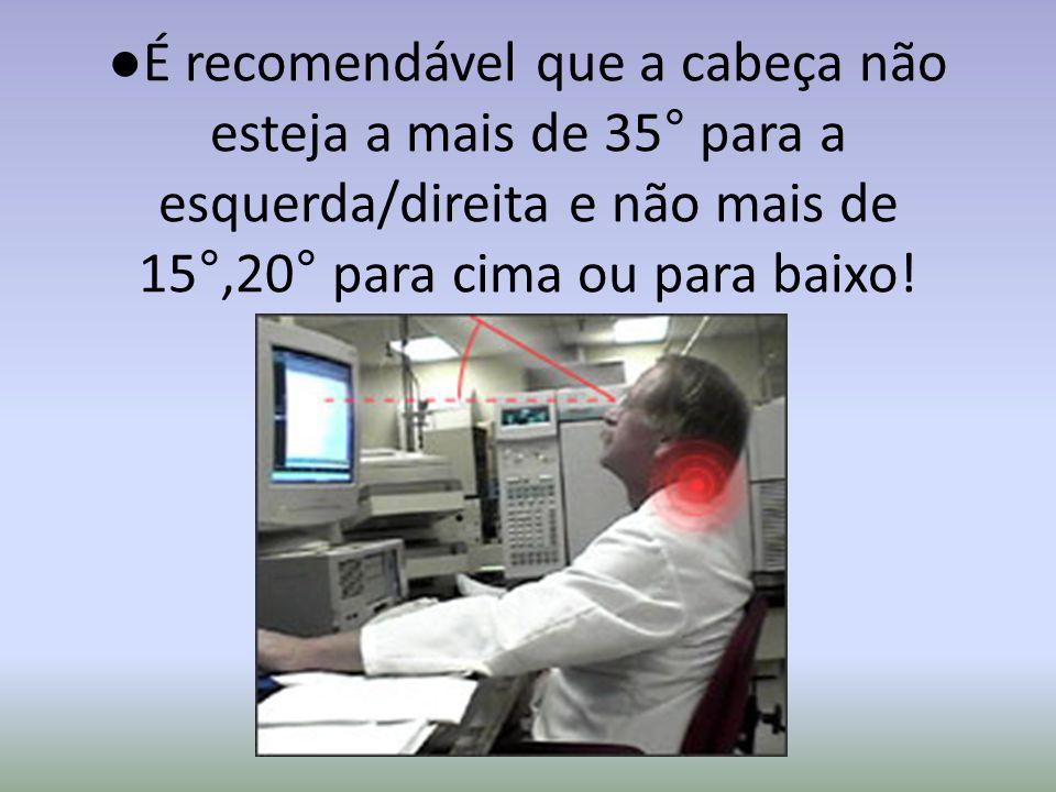 ●É recomendável que a cabeça não esteja a mais de 35° para a esquerda/direita e não mais de 15°,20° para cima ou para baixo!