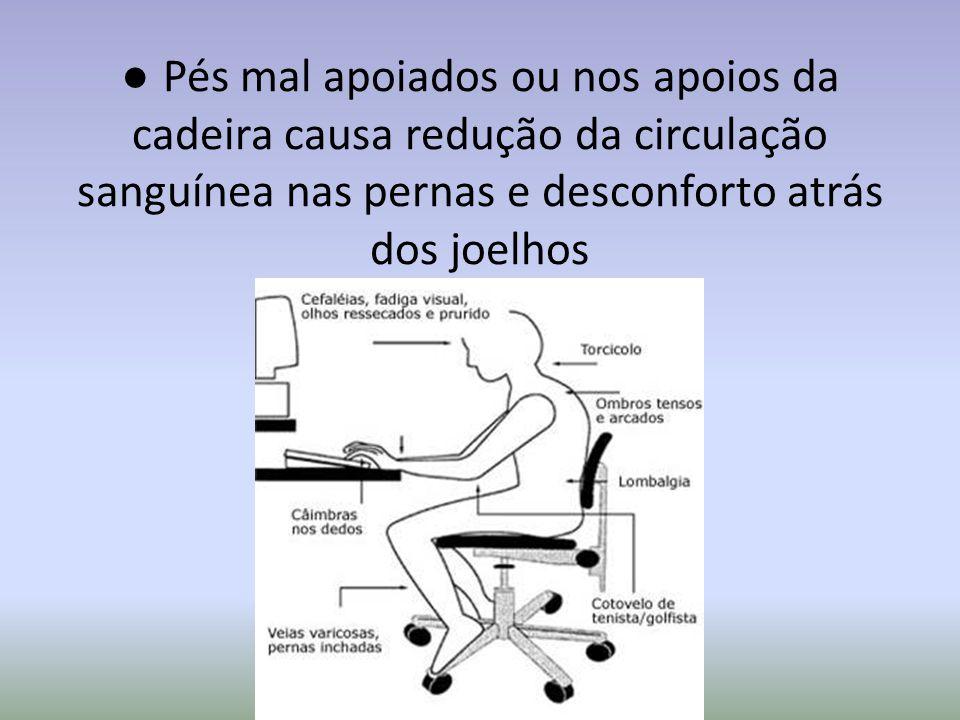 ● Pés mal apoiados ou nos apoios da cadeira causa redução da circulação sanguínea nas pernas e desconforto atrás dos joelhos