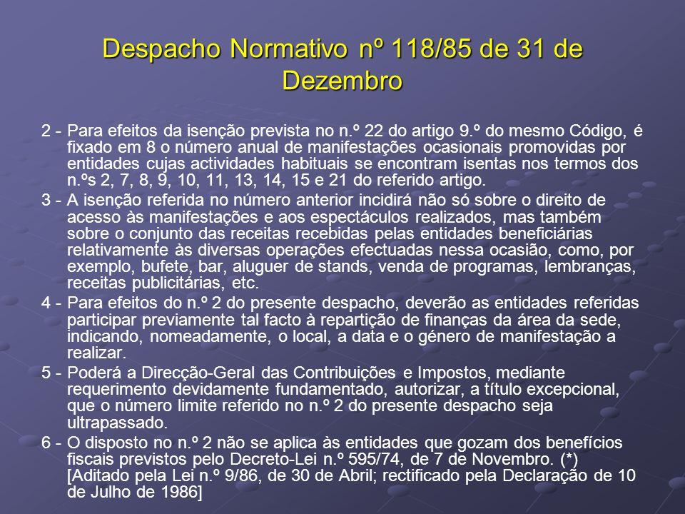 Despacho Normativo nº 118/85 de 31 de Dezembro