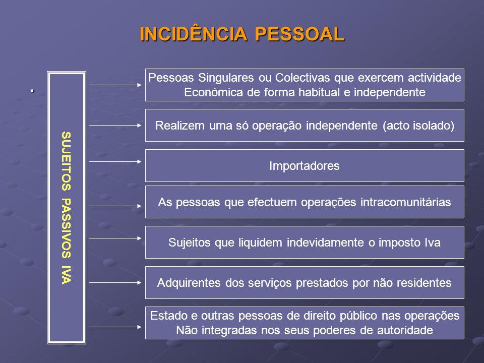 INCIDÊNCIA PESSOAL . Pessoas Singulares ou Colectivas que exercem actividade. Económica de forma habitual e independente.