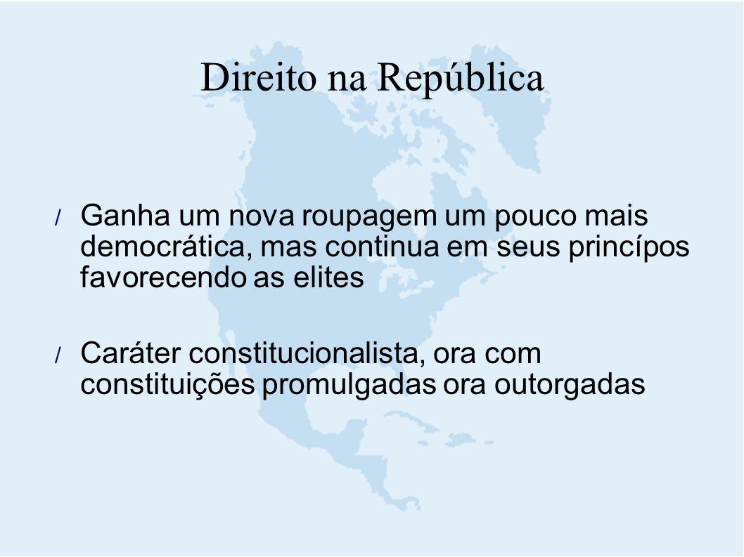 Direito na República Ganha um nova roupagem um pouco mais democrática, mas continua em seus princípos favorecendo as elites.