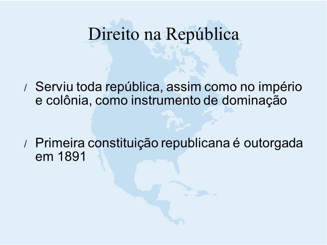 Direito na República Serviu toda república, assim como no império e colônia, como instrumento de dominação.